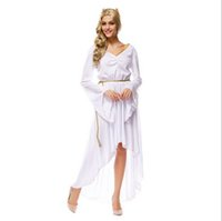 athena dress - 10Pcs By DHL Greek Goddess Athena White V Neck Long Dress Sexy Cosplay Halloween Costumes Uniform Temptation Stage Performance Clothing