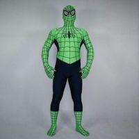 Precio de Trajes de cuerpo de spandex al por mayor-Venta al por mayor de alta calidad para adultos / Disfraces Infantiles verde de Halloween del hombre araña de Cosplay de los hombres de Lycra Zentai traje del super héroe del traje de cuerpo completo