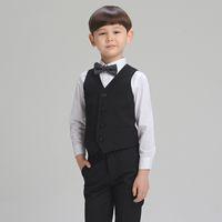 Wholesale 2016 Han Edition Boy Suit Four Piece Ma Jia Suit Black High Grade Flower Children Dress Suit Pinstripe Suit Formal Vest Silver Dress Shirt