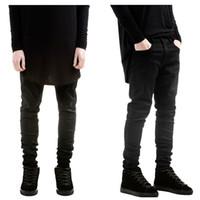 big rock clothing - mens jumpsuit fashion hip hop clothing for big men pants designer slp kanye rock black waxed denim skinny jeans