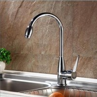 Wholesale Kitchen Swivel Spout Single Handle Sink Faucet Pull Down Spray Mixer Tap Steel