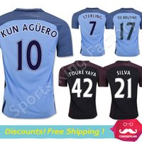 soccer jerseys uniforms - Top thailand quality Manchesterss city home AGUERO DE BRUYNE STERLING TOURE YAYA Soccer uniform Kun Aguero football Jersey