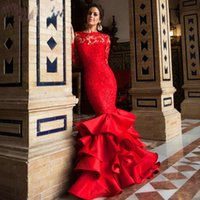 Wholesale 2016 Spring Red Mermaid Prom Dresses Lace Applique Sexy Backless Newest Tiered Bateau Sweep Train Evening Party Gowns Custom Made