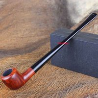 Cheap NewBee Handmade Briar Wooden Polo Smoking Pipe Long Straight Shank Acrylic Mouthpiece Tobacco Pipe with 10 Tools Kit Fatory Sale aa0120