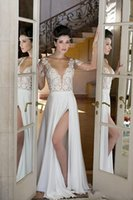 beautiful wedding designs - Wedding Dresses Lace Iullsion Bodice Sexy Design Split Bridal Gowns Cheap Price Long Sleeve Fashion Design Beautiful CHeap Price Elegant