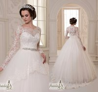 Wholesale 2017 Illusion Long Sleeves Wedding Dresses Sheer High Neck Lace Applique Beaded Sash A Line Long Tulle Bridal Gowns Custom Made