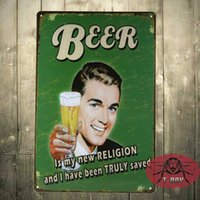 Wholesale Beer Metal painting Is my new religion and i have be truly saved Vintage Signs Decor Kids Wall Decor A