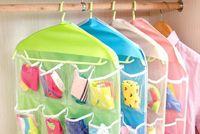 Wholesale Thick Multifunction Clear Socks Cosmetic Underwear Sorting Storage Bag Door Wall Hanging Closet Organizer bag cajas organizadora