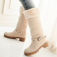Wholesale High Quality Women Snow Boots Winter Warm Women Shoes Square Heel Buckle Plush Mid Calf Half Boots Size