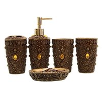 Wholesale 5Pcs Ultimate Morocco Bathroom Accessories Set Bath Resin Cup Toothbrush Holder Soap Dish Dispenser Tumbler