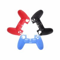 Wholesale Silicone Skin Cover Silicone Rubber Soft Case Skin Cover Protection for Sony PS4 Controller Grip Handle Console Black Red Blue