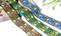 Wholesale NEW High quality colors Zakka accessories DIY lace ribbon polyester woven Jacquard Ribbon with Ethnic Embroidery webbing trim cmx10y