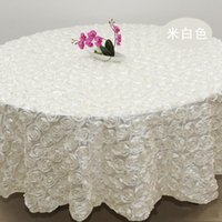 Wholesale 2 m white color Wedding Table Cloth Round Overlays D Rose Petal Round Tablecloths Wedding Decoration Supplier Colors