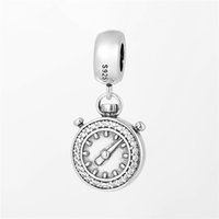 alice beads - Rhodium Charm Sterling Silver Charm Alice in Wonderland Rabbit Pocket Watch Toy Bead Fits DIY Nacklace For Girl No50 lw S460