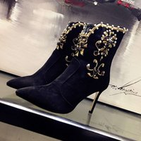 best black paint - Fasion show ankle boots highest quality original shoppe copy all material best hand sowed the diamond on the vamp heel high cm
