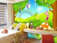 Wholesale Customized PVC d eco friendly wallpaper colorful paradise of mickey TV and bedroom girl background kids gifts cartoon home decoration