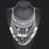 Wholesale N00621 maxi bohemian choker necklaces pendants collar statement necklace Retro white glass fashion necklace women jewelry