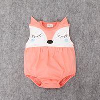 Cheap INS Summer babies romper Baby Girls Cute fox Romper Infant Boys Cotton Clothing Sets Newborn Jumpsuits A8755