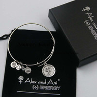 american fast food - fast Shipping Initial letter P Charm Bangle alex and ani SILVER bracelet with box and pouch with logo