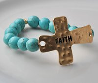american label - New charm natural turquoise Stone Beads bracelet with FAITH on the silver label elastic bangle fashion gift for women girl Yoga bracelet