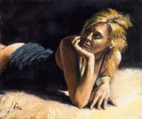 art perez - Hand painted Hi Q modern wall art home decorative abstract oil painting on canvas Fabian Perez Second Blonde x36inch Unframed