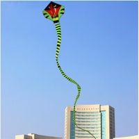 Wholesale m Power Cyan For Cobra Kite Green Long Snake Kites Outdoor Fun Sports Kites Easy To Fly Children s Toys