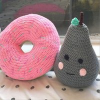 baby doll car seat - Bebes Pillow Knitted Pear Pillows Handmade Baby Room Decoration Child Car Seat Cushion Newborn Bedding Dolls Kids Gift Pink Gray