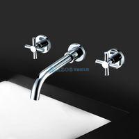 Wholesale AZOS Toilet Basin Tap Contemporary Widespread Wall Mount Bathroom Sink Faucet MPAZ002B