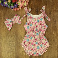 begonia tassels - 2016 baby girl toddler piece set outfits lace Begonia tassels cotton floral romper onesie bloomers diaper covers bowknot headband
