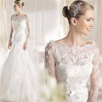 america wave - 2016 Europe And America The New Sexy Lace Long Sleeved Round Neck Translucent Sweep Train Bride Fishtail Wedding Dress B