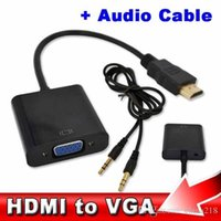 Wholesale HDMI to VGA with mm Jack Audio Cable Video Converter Adapter For Xbox PS3 PC