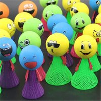 Wholesale 7cm Bounce toys doll Jumping Elves Emoji Expression Funny Head Bounce Elf Up Glow Kids Amusement toys