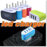 android travel chargers - 5 Colors EU US Plug USB Port LED Wall Home Travel AC Charger Adapter For iPhone s lus for Galaxy S3 S4 Note N9000 android phone