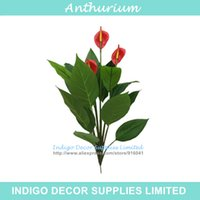 anthurium leaves - 3 Flowers Red Anthurium Andrae Bouquet Plastic Anthurium With Leave Root Calla Real Touch Wedding Display Home Artificial Flower