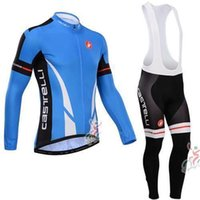 Wholesale 2015 new style CastelliLong Sleeeve Cycling Jersey Roupa Ciclismo Bike Wear Mans bib Pants Breathable Bicycle Clothing fleece