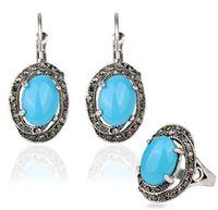 Gran forma de huevo de la turquesa del anillo de tres piezas pendientes establecidas retro de lujo de la joyería de lujo Crystal Conjunto de la joyería al por mayor de la turquesa