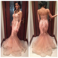 beautiful tires - Beautiful Strapless Pink Formal Evening Dresses Mermaid Vintage Lace Appliques Prom Gowns Saudi Arabia Tired Skirts Party Dress Tiered