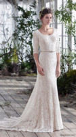 Wholesale 2017 informal beach wedding dresses Sheath Wedding Dresses bateau Garden Wedding Sexy Beach Sheer Informal zipper sleeve Wedding Dresses