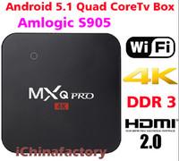 Wholesale MXQ Pro Android Internet TV Box Amlogic S905 Kodi Full Loaded Android Lollipop OS Quad Core G G K Google Streaming Media Players