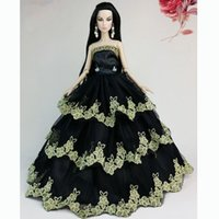Wholesale New Black Handmade Fashion Wedding Gown Dresses Clothes Outfit Girl Party For Doll Xmas Gift Doll s