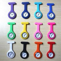 Wholesale Hot Nurse Medical Watch Silicon Clip Pocket Watches With Pin colors Doctor Watch candy color mix color nurse watch cheap
