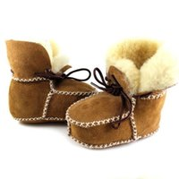 baby shearling boots - New Hot Surfer Baby Sheepskin Shearling Booties Suedel Wool Boots Infant Toddler Shoes shipping