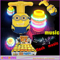 Wholesale Despicable ME Minions Colorful flash Music Spinning Electronic Toys Electronic Pets for kid s gift DHL