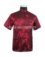 Wholesale Black Chinese Tradition Style Men s Dragon Pattern Shirt Kung Fu Short Sleeve Shirts S M L XL XXL XXXL XD16