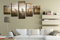 Конные фотографии Цены-Resim Tuval китайской письменности Ткань 5 P Современная семья высокой четкости изображений Печать Картина маслом Стена украшению Theme Лошади галопом