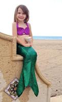 al por mayor nado verde púrpura-2016 muchachas de los niños del traje de baño Traje 3 Swim PCS Niños Shell sirena Escalas Bikini Set de regalo de la muchacha niños púrpura linda verde del traje de baño