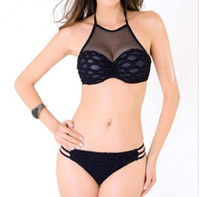 Tankini negro l España-2016 Nueva llegada Negro Bikini malla traje de baño de cuello alto Traje de baño Straw Sexy Underwire acolchado Set Tankini Set