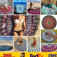 Wholesale Fashion Round Beach Shawls Summer Polyster Printed Bohemian Beach Tablecloth Sarongs Towel Yoga Mat Women Ladies Wrapdress HH C02