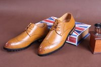 Cheap Men's Fashion Pointed Shoes British Style Thick Crust Bullock Shoes