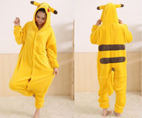 Wholesale New FashionYellow Pikachu Unisex Adult Gril Flannel Pajamas Animal Onesie Pajamas cosplay Onesie BM002